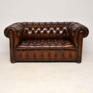 Antique Leather Two Seat Chesterfield Sofa