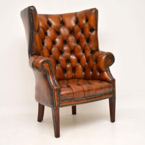 Antique Leather Wing Back Barrel Armchair