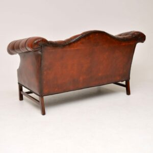 Antique Deep Buttoned Leather Hump Back Sofa