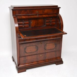 Antique Flame Mahogany Cylinder Top Bureau