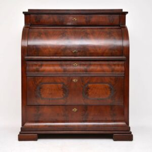 Antique Flame Mahogany Cylinder Top Bureau