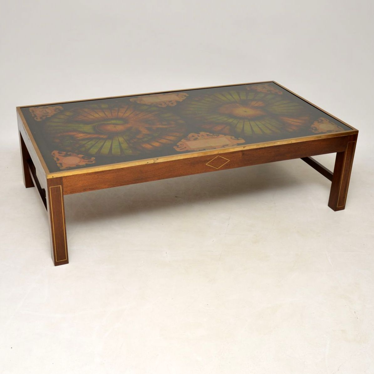 Very Large Antique Brass & Mahogany Atlas Coffee Table