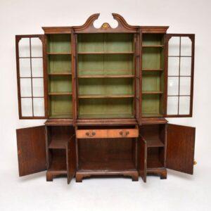 Large Antique Walnut Breakfront Bookcase