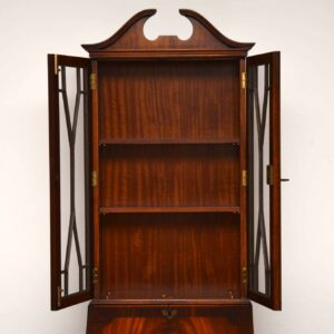 Slim Antique Mahogany Bureau Bookcase