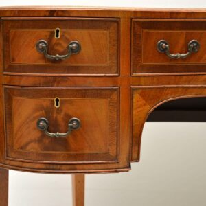 Antique Flame Mahogany Kidney Shaped Desk