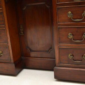 Antique Mahogany Leather Top Knee Hole Desk