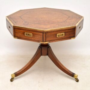 Antique Mahogany & Leather Campaign Drum Table