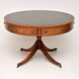 Antique Mahogany Leather Top Drum Centre Table