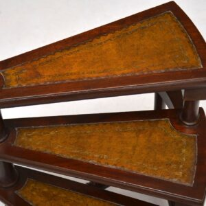 Antique Regency Style Mahogany & Leather Library Steps