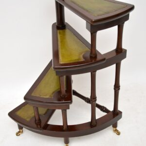 Antique Mahogany Regency Style Spiral Library Steps