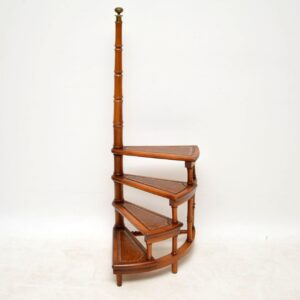 Antique Georgian Style Mahogany & Leather Library Steps