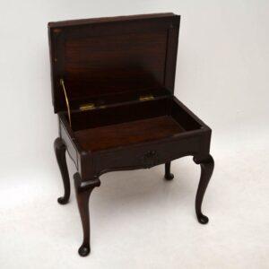 Antique Mahogany & Leather Piano Stool