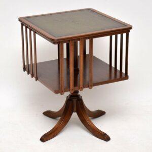 Antique Mahogany & Leather Revolving Bookcase