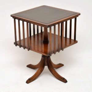 Antique Regency Style Leather Top Revolving Bookcase / Side Table