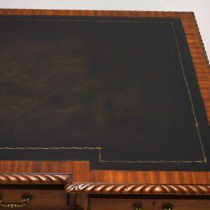 Large Antique Mahogany Leather Top Pedestal Desk