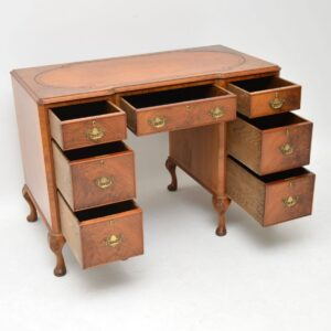 Antique Figured Walnut Leather Top Kneehole Desk