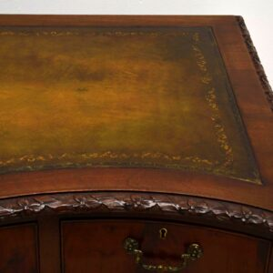 Antique Carved Mahogany Leather Top Desk