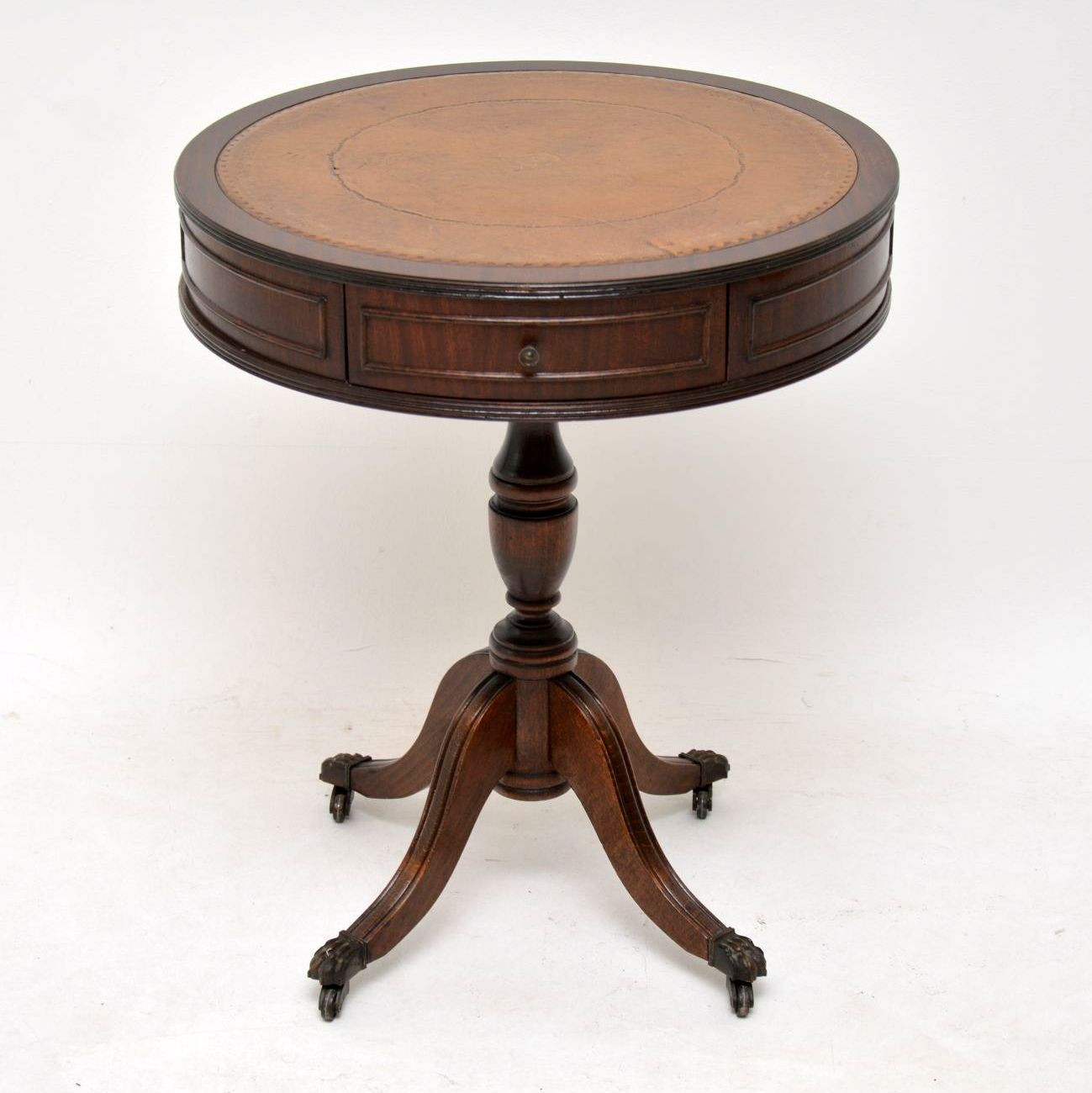 Antique Mahogany Leather Top Drum Table