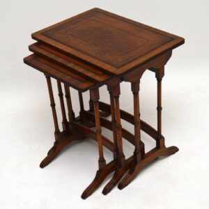 Antique Georgian Style Mahogany & Leather Nest of Tables