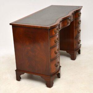 Antique Mahogany Leather Top Pedestal Desk