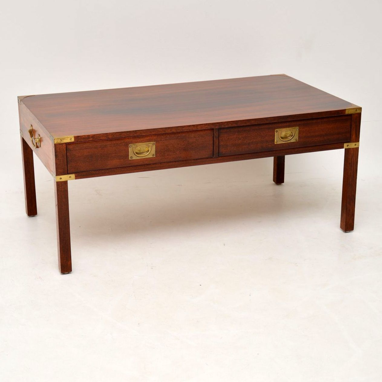 Antique Mahogany & Brass Military Campaign Coffee Table