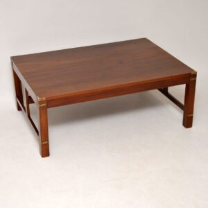 Large Antique Mahogany & Brass Military Campaign Coffee Table