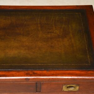 Antique Mahogany & Leather Military Campaign Desk
