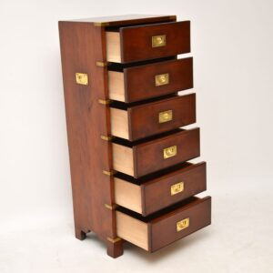 Antique Military Campaign Style Mahogany Chest of Drawers