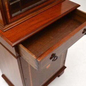 Antique Georgian Style Inlaid Mahogany Bookcase