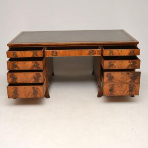 Large Antique Mahogany Leather Top Partners Desk