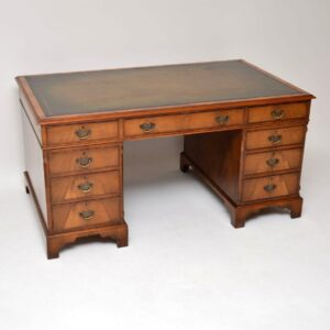 Antique Mahogany Leather Top Pedestal Desk