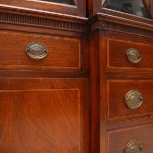 Antique Mahogany Secretaire Breakfront Bookcase