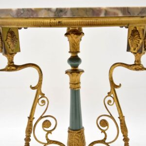 Antique Gilt Metal & Marble Side Table