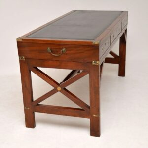 Antique Military Campaign Style Mahogany Leather Top Desk