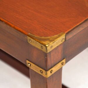 Antique Military Campaign Mahogany & Brass Coffee Table