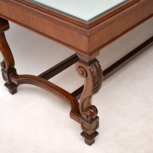 Antique Mirrored Top Mahogany Coffee Table
