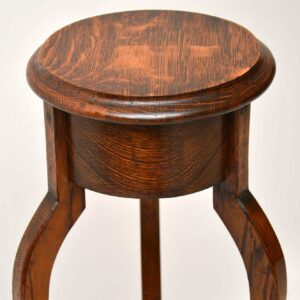 Antique Oak Jardiniere Side Table