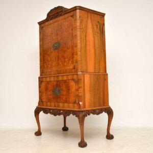 Antique Queen Anne Burr Walnut Cocktail Cabinet