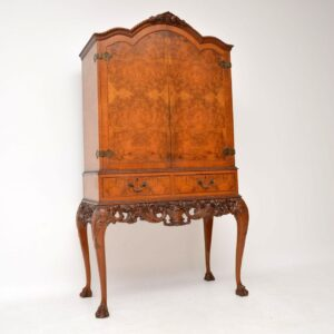 Antique Queen Anne Style Burr Walnut Cocktail Cabinet
