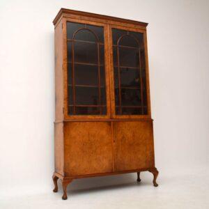 Antique Burr Walnut Bookcase on Cupboard