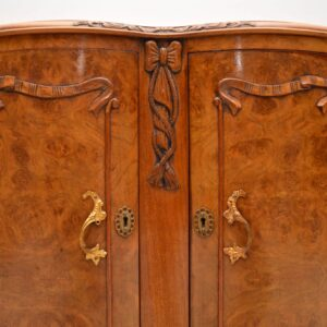 Long Shaped Antique Burr Walnut Sideboard