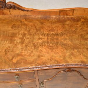 Antique Queen Anne Style Figured Walnut Sideboard