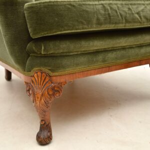 Antique Queen Anne Walnut Sofa & Armchairs Suite