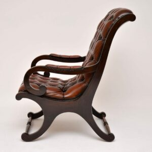 Antique Regency Style Leather & Mahogany Armchair