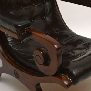 Antique Leather & Mahogany Armchair