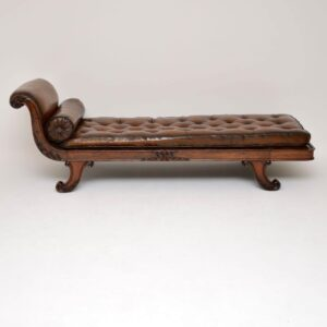 Antique Regency Mahogany & Leather Chaise Lounge