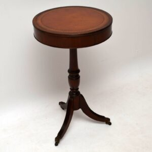 Antique Regency Style Mahogany Leather Top Lamp Table
