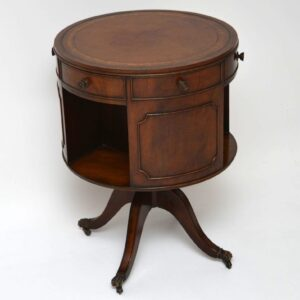 Antique Mahogany Leather Top Revolving Drum Table - Bookcase