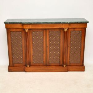 Antique Rosewood & Marble Grill Front Sideboard