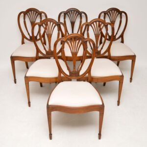 Set of 6 Antique Mahogany Sheraton Style Dining Chairs